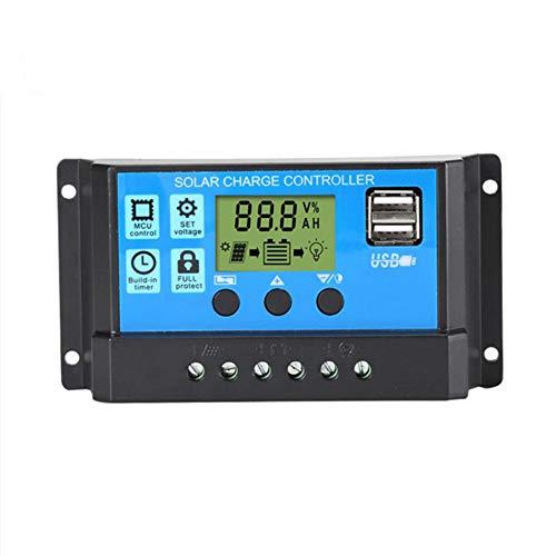 SCYDAO 10A 20A 30A Controlador De Carga Solar, Panel Solar Regulador Puerto USB Display 12V / 24V, Pantalla LCD, Protección De La Sobrecarga De Compensación De Temperatura,30a