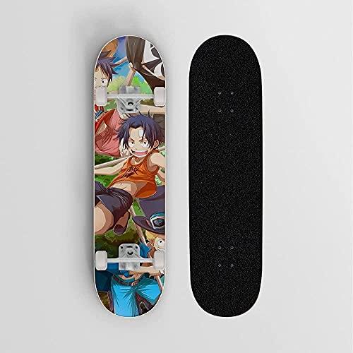 Monopatín de Anime para una Pieza Portgas d Ace Three BrothersMini Cruiser7 Capas monopatín de Arce deCarga 100 kgStreet Scooter Principiantes