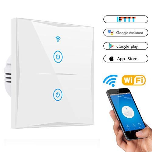 Smart Lichtschalter, CHANPAK 2-Weg Wifi In-Wall gehärtetes Glas Touchscreen-Schalter, arbeitet mit Amazon Alexa und Google Home, steuern Sie Ihre Fixtures von überall, kein Hub erforderlich (2-weg)