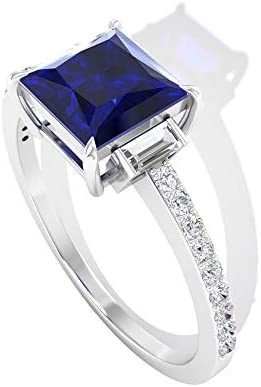 Solitaire 1 74CT Princess Cut Blue Sapphire Engagement Ring HI SI Certified Baguette Shaped product image