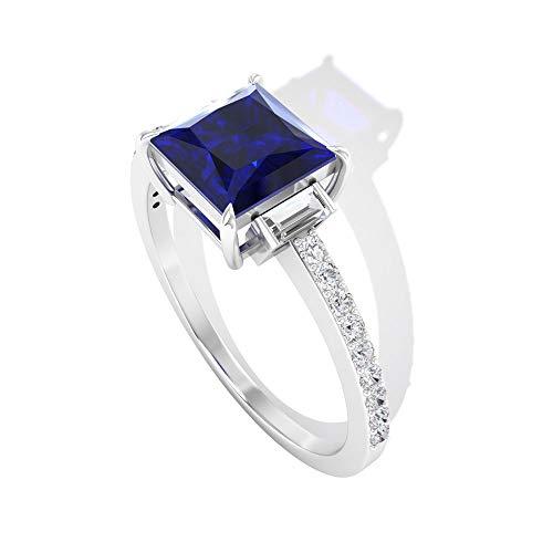 1,5 Karat Saphir Diffused Drei Stein Ring, IDCL Certified Moissanit Seite Stein Ring, Solitär Verlobungsring GH-VS1 Farbe Klarheit Moissanit, 14K Weißes Gold, Size:EU 58