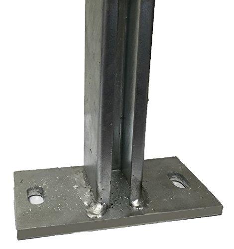 BBT@ - Adattatore per pali con piastra di base, zincato, per pali di recinzione 60 x 40 mm, per recinzioni da giardino a induzione