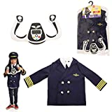 DRESS 2 PLAY Pilot Pretend Costume, Dress up Set with Accessories Navy