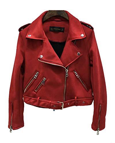 ShiFan Faux Wildleder Jacke Damen Übergangsjacke Winterjacke Revers Reißverschluss Einfarbig Oberbekleidung Mit Gürtel Rot L