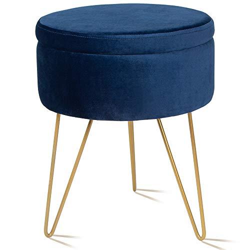 Velvet Storage Footrest Stool Dressing Upholstered Vanity Chair Round Ottoman with Golden Metal Legs for Home Living Room Bedroom, Blue