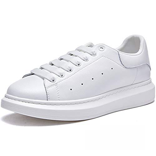 FUJING Herren Leder Plateauschuhe Freizeit Schnürschuhe Mode Sneakers W/Weiß 40
