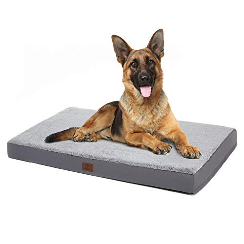 Eterish Extra Large Orthopedic Dog Bed for Medium, Large, Extra Large Dogs up to 100 lbs, 4 inches Thick Egg-Crate Foam Dog Bed with Removable Cover, Pet Bed Machine Washable, Grey