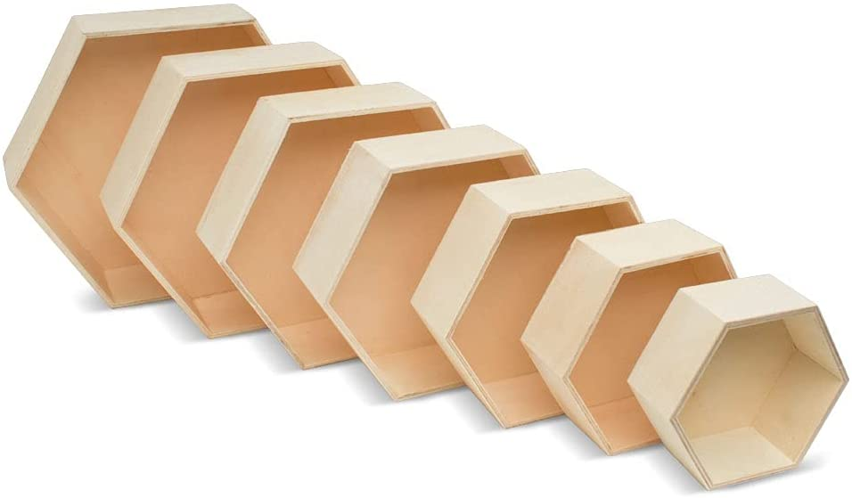 Wooden Hexagon Floating Year-end annual account Shelves with Backs Unfinis 5 Popular product Sets of 7