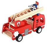 Sichuan Camion de Pompier en Bois avec Figurine de Jeu de Pompier Jouet de Semblant de Jeu coloré