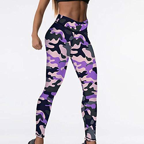 Mujeres Estirar Las Leggings,Púrpura Camuflaje Estampado Digital Cintura Alta Spandex Moda Sexy Yoga Pantalones Control De Abdomen Damas Fitness Mallas Ciclismo Pantalones De Entrenamiento, L (Etiq