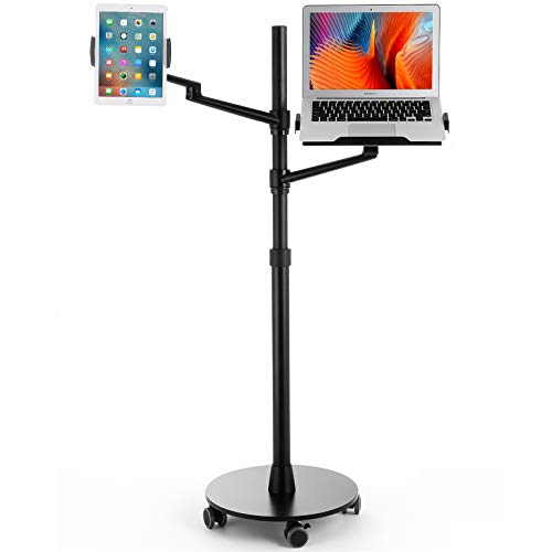 Viozon Tablet and Laptop Floor Stand, 2-in-1 Rolling Adjustable Dual arm, Applicable to3.5~6.7inch Phone and 7~13'' Tablet Compatible with iPad Pro, iPad, Extra Tray Fits 12 to 17'' Laptop/Notebook(B)