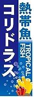 『60cm×180cm(ほつれ防止加工)』お店やイベントに! のぼり のぼり旗 熱帯魚 TROPICAL FISH コリドラス(青色)