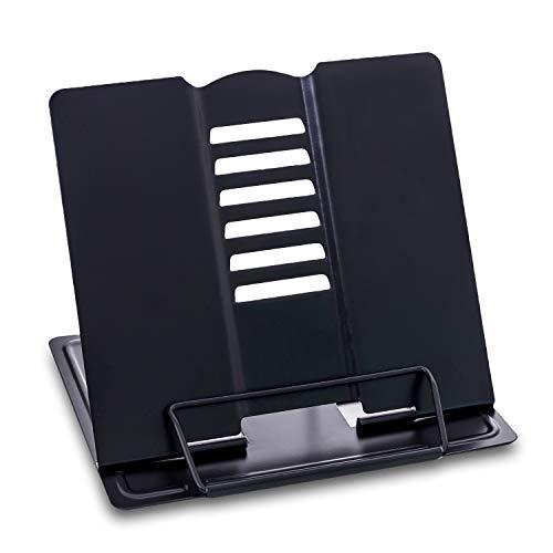 sinzau Atril de lectura portátil multifuncional de metal con 6 niveles ajustables, para cocina y oficina, color negro