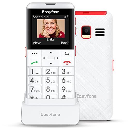 Easyfone Prime-A7 gsm Teléfono Móvil para Personas Mayores con Teclas Grandes, Botón SOS con GPS, Fácil de Usar Móviles para Ancianos con Base cargadora (Blanco)