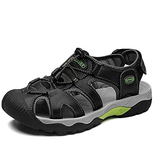 VTASQ Sandalias Hombre Verano Piel, Aire Libre Deportivas Playa Antideslizantes Zapatos Senderismo Sandalias con Punta Cerrada Zapatos de Senderismo Negro 41EU