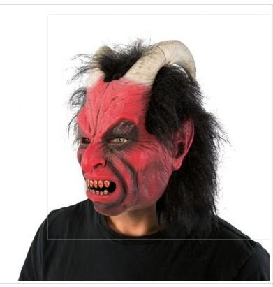 Masque Diable En Latex (Version Luxe Avec Cheveux)