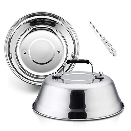 HaSteeL 22,9 cm Käse Schmelzkuppel, kleine runde Grill-Dampfabdeckungen, 2er-Set, professionelles Edelstahl-Grillzubehör für flache Grills drinnen und draußen, robust und spülmaschinenfest