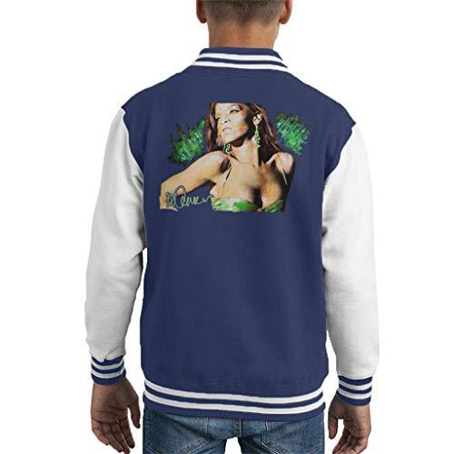 VINTRO Rihanna Ohrringe Kinder Varsity Jacket Original Portrait von Sidney Maurer professionell bedruckt Gr. L, Oxford Navy Arctic White