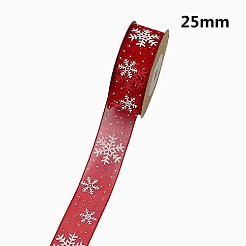CUIAIDING lint 10 mm 25 mm organza lint, sneeuwvlok kerstlinten voor handgemaakte DIY geschenkverpakking decoratie groothandel 10 meter/partij, 25 mm rode sneeuw