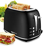 Toaster Wide Slot, Retro Compact Bread Toaster with Begal, Defrost, Cancel Modes & 6 Shading Controls, Removal Crumb Tray, Stainless Steel Toaster Black
