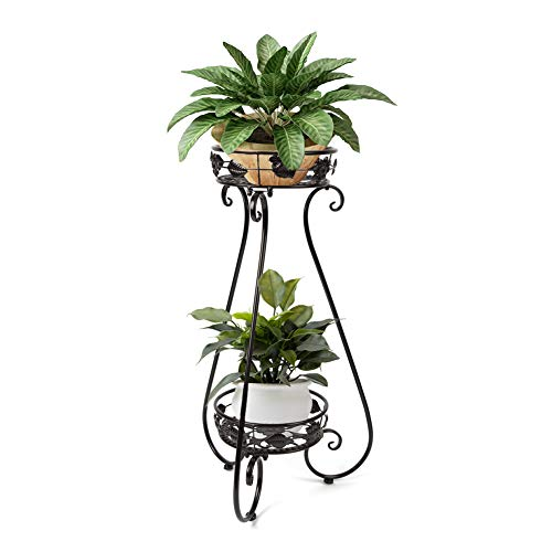 BXD Metal Tall Plant Pot Stand Flower Stand Iron Rack Indoor/Outdoor Display 2 Tiers for Living Room/Parlor,Home/Office,Balcony Decorations Black
