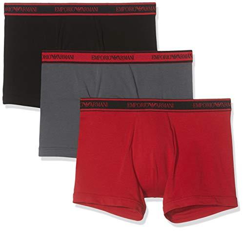 Emporio Armani Underwear Herren 3 Pack Boxer Multipack Core Logoband Boxershorts, Schwarz (Nero/ANTRAC./Rubino 69620), Medium (Herstellergröße:M) (3er Pack)