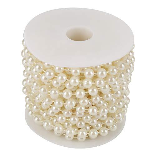 Fydun Perle per artigianato, 10 m/roll 8 mmGrinding Pearl Wire Beads Garland String fai da te per la decorazione della casa feste (bianco, beige) (beige)