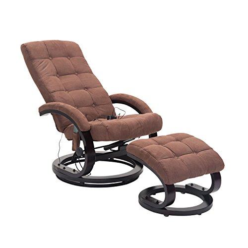 HOMCOM Massagesessel TV Sessel Relaxsessel mit Hocker Fernsehsessel mit Heizfunktion und Vibration (Braun)