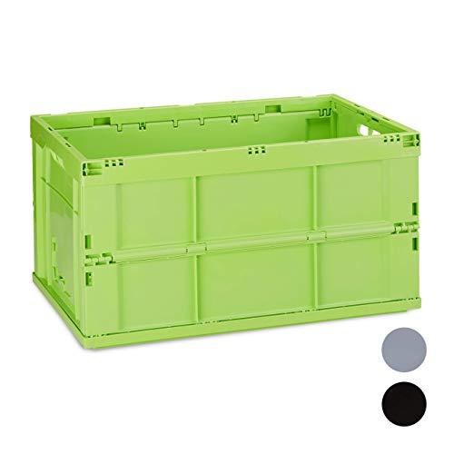 Relaxdays Profi Klappbox, stabil, Gewerbe, hochwertiger Kunststoff, Qualität, 60L, Kiste, HBT 31,5 x 58,5 x 40 cm, grün