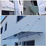 Glasvordach Zugstreben 90 120 cm Edelstahl Vordach Türvordach VSG 13mm Haustür, Größe:250 x 90 cm, Glasart:Klarglas