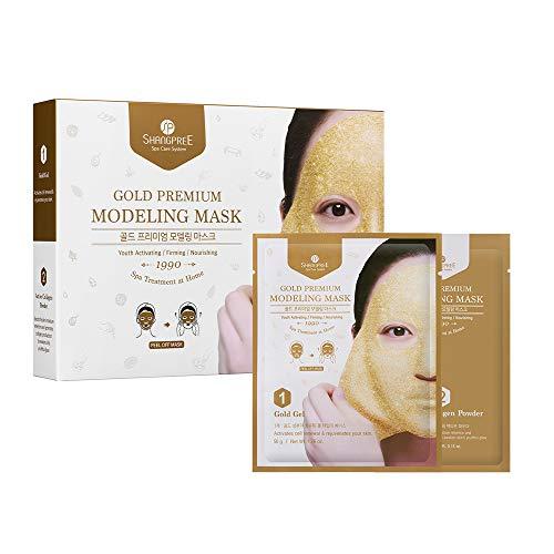 SHANGPREE Gold Premium PLUS Modeling Mask (Set of 5 Masks), Gold Gel & Collagen Powder'Rubber' Mask, Premium Korean Skincare, aqua jelly hydrojelly