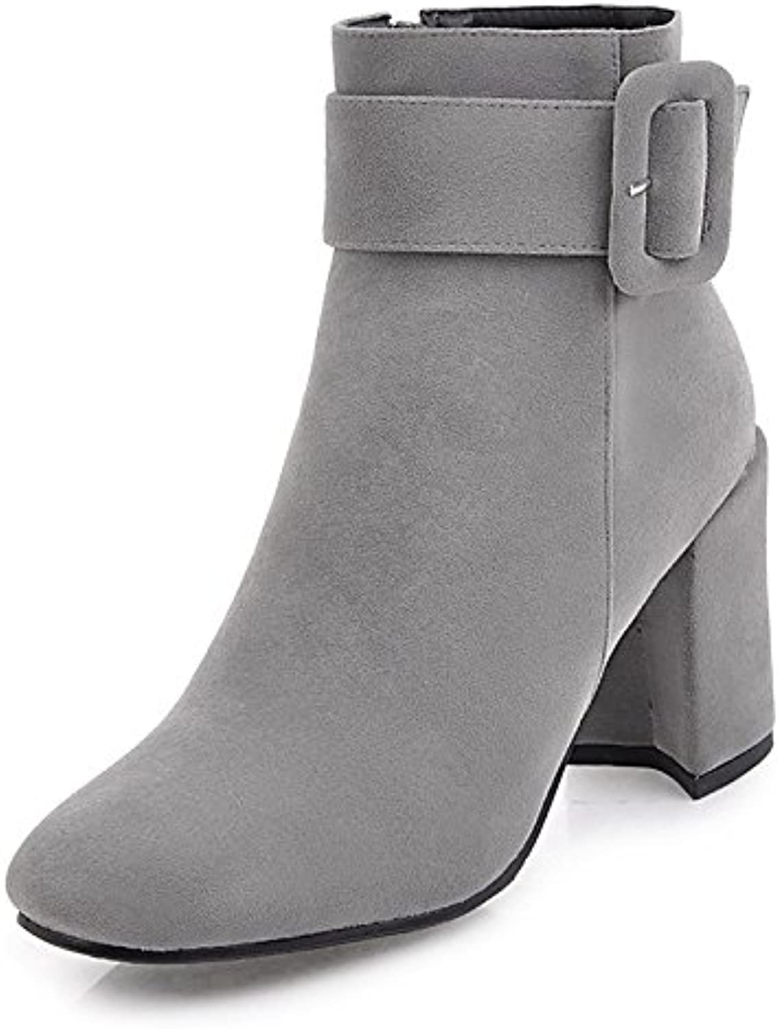 HSXZ Women's shoes Fleece Winter Fall Fashion Boots Bootie Boots Null Chunky Heel Round Toe Booties Ankle Boots MidCalf Boots Buckle for