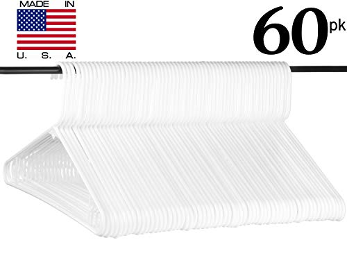 Neaties American Made White Plastic Hangers with Bar Hooks, Plastic Clothes Hangers Ideal for Everyday Use, Clothing Standard Hangers, 60pk