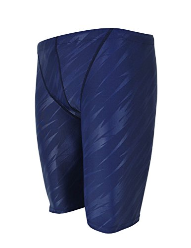 Srnfean Men`s Swimming Jammers Endurance+ Quick Dry Swimsuit Blue Stripe Medium
