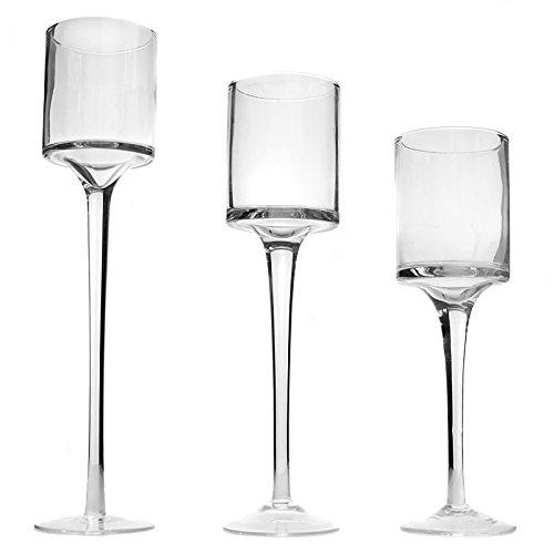 Maison & White Ensemble de 3 bougeoirs et bougeoirs Tea Light | Grand design élégant en verre | Idéal pour les mariages, la décoration intérieure, les fêtes, les arrangements de table et les cadeaux