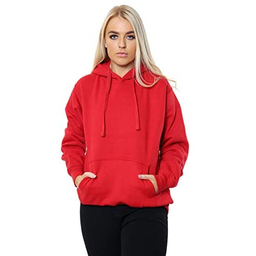 Women Ladies Oversized Pullover Plain Hoodie Top with Out Zip Hoodies Sweatshirt Top Jumper UK 10-18