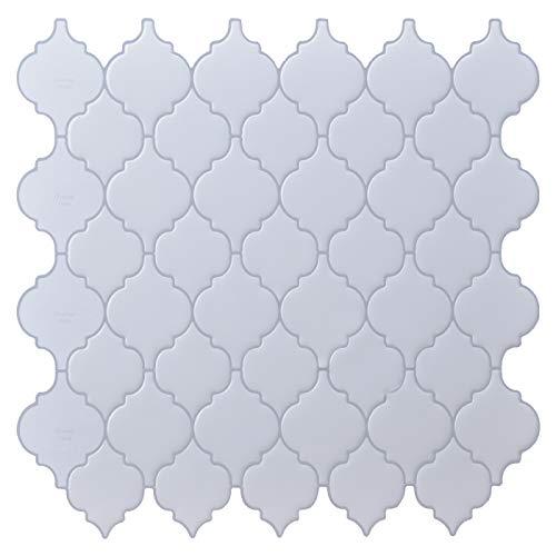 LONGKING Peel and Stick Tile Backsplash - White Arabesque Tile Backsplash, Mosaic Backsplash Sticker, (10 Sheets)