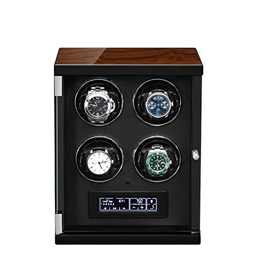 zyy Cajas Giratorias para Relojes Caja Relojes 4 Relojes 5 Modos de Rotación LCD con Panel Táctil LED Incorporado Iluminado con Mando A Distancia Joyero para Mujeres Y Hombres Negro (Color : Black)