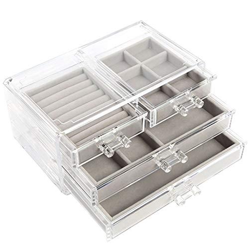 Caja Organizadora De Joyas Caja De Cosméticos Transparente De Cristal Con Tres Capas Y Cuatro Cajones Organizador Caja De Almacenamiento De Exhibición Caja De Joyería Con Cierre Organizador Para Mujer