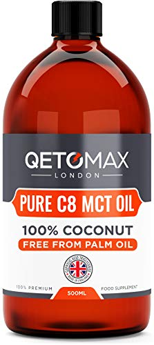 MCT Oil, Pure C8 With Zero Palm Oil, 100% Coconut 500ml by Qetomax   99.8% C8, Ideal for Bulletproof Coffee, Keto Diet, Made in UK