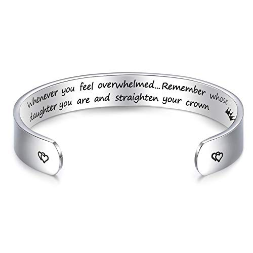 """LParkin Inspirational Gifts Women Bracelet Whenever You Feel Overwhelmed Remember Whose Daughter You are 3/8"""" 6"""" Stainless Steel Polished Finish (Whenever You Feel Overwhelmed - Daughter)"""