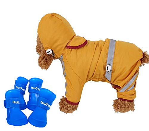 Small Dog Raincoat Rain Boots Set Hooded & Four Leg Pet Raincoat with Reflective Strip Polyester Anti-Slip Silicone Water Proof Rain Boots ONLY for Small Dog