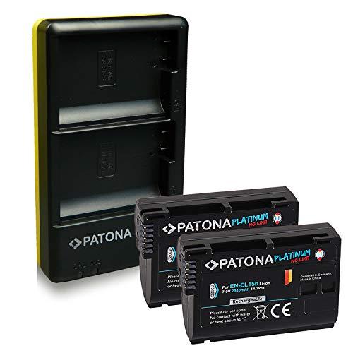 PATONA Caricabatteria doppio + 2x Platinum Batteria EN-EL15b compatibile con Nikon D7000 D7100 D600 D800 D850
