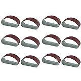 DONDOW Pulido 12 unids/set de molienda de lijado correas de amoladora Accesorios de grano de óxido de aluminio compatible con lijadora de pulido máquina de repuesto herramienta abrasiva