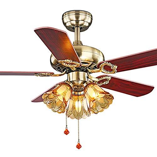 Ventilador de techo de madera Luz 5 cuchillas Lámpara de ventilador de 42 luces Ventiladores de techo de 42 pulgadas para el dormitorio, sala de estar, comedor Hogar, ventilador de techo rústico,A