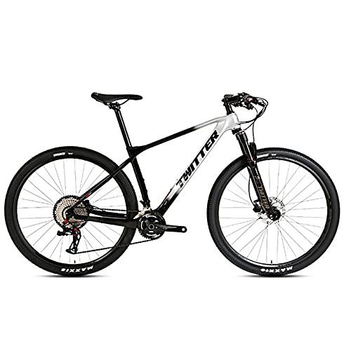 EWYI 27.5/29'' Bicicleta De Montaña, Fibra Carbono MTB, Absorción Impactos, Ciclismo Al Aire Libre, Velocidad Variable para Estudiantes Campo Traviesa, Pedales Aleación Black Silver-29''