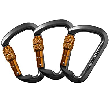 AYAMAYA 3 Pack 30kn/3000kg Aluminum Locking Rock Climbing Carabiner D Shape Screwgate Carabiner Hook Screw Lock Carabiner Outdoor Sport Tools