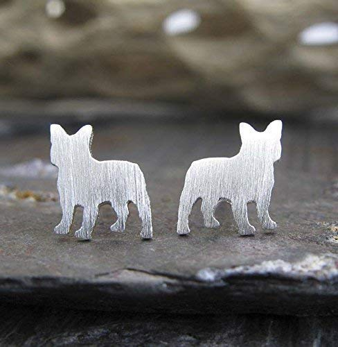 Frenchie French Bulldog stud earrings brushed sterling silver dog jewelry. Handmade in the USA.