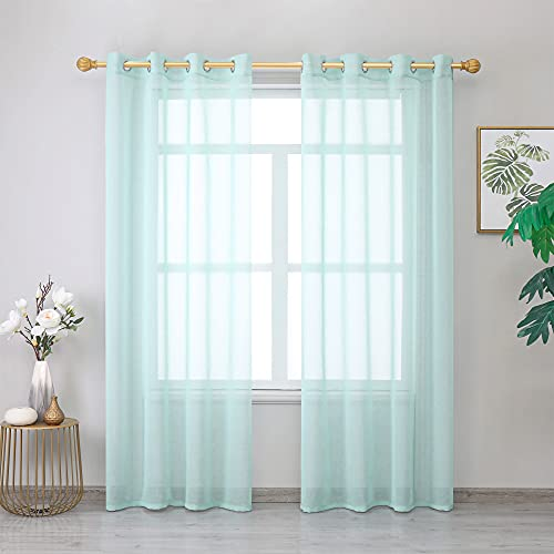 """Roy Lei Aqua Sheer Curtains Voile Light Filtering Grommet Voile Drapes Curtains for Bedroom & Living Room,Set of 2 Panels (Aqua, 38""""X96"""")"""