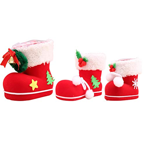 YeahiBaby 6 Piezas Bota de Navidad Decoración de Árbol de Navidad (Rojo y Blanco)